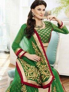 Glorious Green Net Zari Work Lehenga Choli