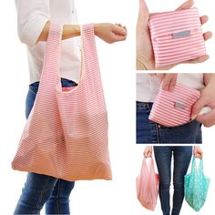 Details about Foldable Reusable Eco Bag Storage Shopping Tote Grocery Bags For Women US - Einkaufen Folding Shopping Bags, Shopping Bag Design, Reusable Shopping Bags, Reusable Bags, Bag Sewing Pattern, Sew Pattern, Cheap Bags, Grab Bags, Tote Bag