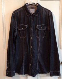 Buffalo David Bitton Shirt Mens Size L Black 100% Cotton Button Front Large