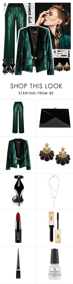"""girl power"" by helena99 ❤ liked on Polyvore featuring Rasario, Rocio, Balmain, La Perla, GUESS by Marciano, NYX, Yves Saint Laurent, Christian Louboutin, Sequins and velvet"