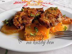 Kuřecí steaky na tuřínu a šlehačce Tandoori Chicken, Pork, Meat, Ethnic Recipes, Kale Stir Fry, Pork Chops