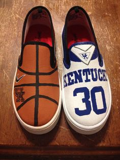 Hand painted college basketball shoes by MCDesignsAndGifts on Etsy, $50.00