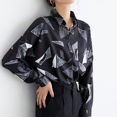 Spring Geometric Print Chiffon Women Blouses Tops One Pocket Loose Black Blouse Shirt Female Casual Shirts 2019 blusas mujer - black XL Plus Size Shirts, Plus Size Blouses, Print Chiffon, Chiffon Shirt, Collars For Women, Blouses For Women, Black Blouse, Shirt Blouses, Shirt Style