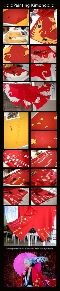 Painting the kimono:::::: by Witchiko.deviantart.com