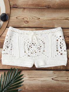 $19.49 Boxer Crochet Bikini Bottom - WHITE ONE SIZE