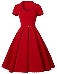 Enjoy exclusive for GownTown GownTown Women's Retro Vintage Party Swing Dress online - Allstoresonline Vintage Red Dress, Vintage 1950s Dresses, Look Vintage, Retro Dress, Vintage Outfits, Vintage Fashion, Vintage Party, Retro Vintage, Trendy Dresses