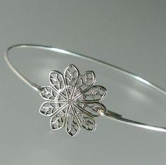 Silver Round Filigree Bangle Bracelet by BridesmaidGiftIdeas, $14.95