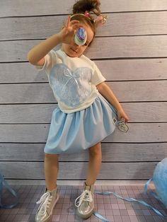 Bluzeczka i spódniczka serce Voga blu-dziewczynka Harajuku, Fashion, Tunic, Moda, Fashion Styles, Fashion Illustrations