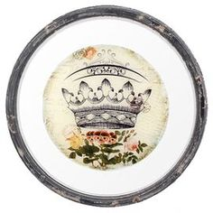 """Weathered wall decor with a crown and floral motif.   Product: Wall decorConstruction Material: Wood and glassColor: Black, cream and pinkFeatures:  Antique-inspired designCrown motif Dimensions: 15.5"""" Diameter"""