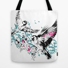 One+Fell+Swoop,+Teal+&+Pink+Tote+Bag+by+Esther+Pallett+-+$22.00
