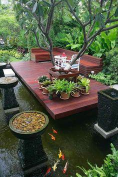 Tropical Backyard Landscaping, Backyard Patio Designs, Ponds Backyard, Landscaping Ideas, Garden Pond Design, Tropical Garden Design, Water Features In The Garden, Exterior, Home And Garden
