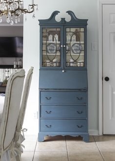 Fusion Mineral Paint Homestead Blue - a new acrylic, self leveling paint that works like chalk paint but doesn't need to be sealed with wax or poly. Same company that makes Miss Mustard Seed Milk Paint. (Homestead House)