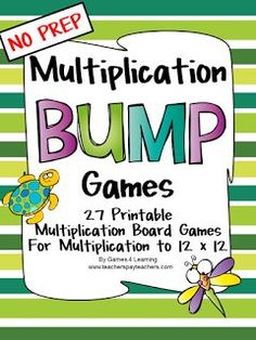Multiplication Bump Games - NO PREP math games for multiplication - Mathe Ideen 2020 Teaching Multiplication, Teaching Math, Math Fractions, Math Tutor, Math Teacher, Math Education, Math Strategies, Math Resources, Math Activities