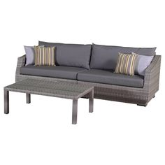 "RST Brands Cannes 2-Piece Sofa and Coffee Table Set with Cushions, Charcoal Grey, 31"" x 96"" x 33"". Overall dimensions: sofa: 96 in  w x 33 in  d x 31 in  h seat height: 19 in coffee table: 46 in l x 26 in w x 16 in h weight capacity: 400 lbs. Powder-Coated aluminum frame. Holds up great in salt and chlorinated environments. Warranty details: one year."