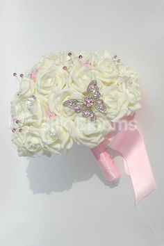 Stunning Ivory Rose Bridal Bouquet w/ Pink Crystal Butterfly
