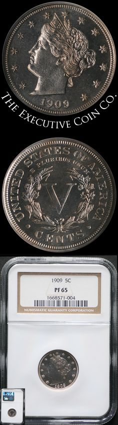 This nice original 1909 Liberty V Nickel has superb eye appeal with nice strike and great mirrors. Certified: NGC PF65