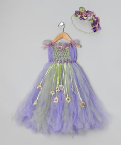 Enhance a plain tutu with ribbons and flowers | Purple & Green Meadow Tutu Dress & Headband - Toddler & Girls | Daily deals for moms, babies and kids