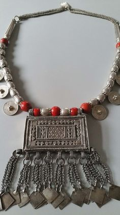 Vintage silver Bedouin amulet - hirz - pendant dowry necklace from OMAN , Yemen, Middle east 425 grams. by tribalgallery on Etsy