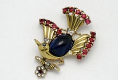 CROWN TRIFARI Sterling Philippe Pat Pend Lyre Bird Brooch
