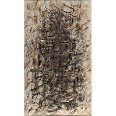 """FRANS KRAJCBERG<BR>""""""""Composição""""<br>Pigmentos naturais sobre papel japonês moldado e colado sobre tela.<br>Ass.dat. 1960 inf. dir, Ass.dat, loc. """"Paris"""" no verso. 100 x 60 cm.<br>Reproduzido pág. 70 do livro """"Cobra mais Contrasts""""<br>The Winston Malbin Collection the Detroit Institute of Arts,<br>25 de Setembro á 17 de Novembro 1974.<br>"""
