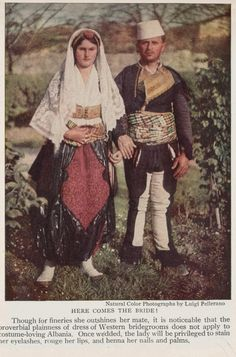 illustrations from article Albania Europe s Newest Kingdom feb National geographic magazine Traditional Fashion, Traditional Outfits, Albanian People, Albanian Culture, Ottoman Turks, Folk Clothing, 30s Fashion, Wedding Costumes, Folk Costume