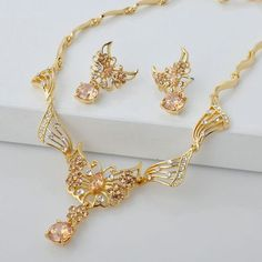 Gold Plate Zircon Butterfly Wedding Bridal Evening Fashion Jewelry Set SKU-10801309