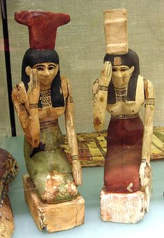 *EGYPT ~ Mourning Nephthys Period: Late Period–Ptolemaic Period Date: B. Geography: Country of Origin Egypt Medium: Wood, stucco, paint Ancient Egyptian Artifacts, Ancient History, Art History, Egyptian Goddess, Egyptian Women, Ancient Civilizations, Luxor, Archaeology, Stucco Paint
