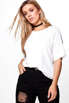 7d54e398f5784 Plus Charis Ribbed Oversize Knitted Tee Blonde Beauty, Bandeaus, Bralets,  Casual Shorts,. Boohoo UK