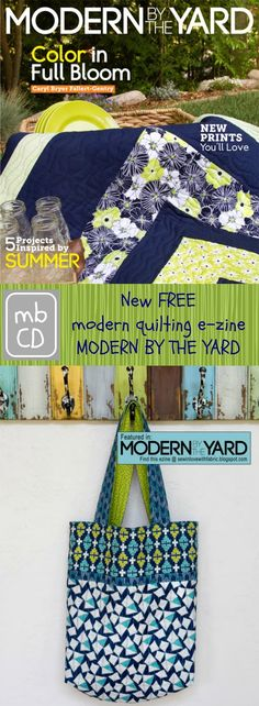 free pattern for reversible tote bag with zippered pocket, wallet and key clip, don't miss It - Issue 2 FREE E-zine out now: Modern by the Yard