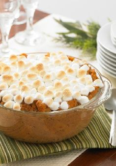 Whipped Sweet Potato Bake – Is sweet potato casserole a dessert or a vegetable side dish? However you view it, this one — glorious with marshmallows, cinnamon and nutmeg — is a winner.