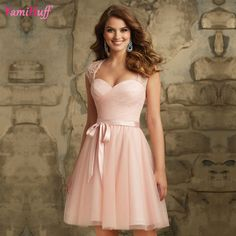 Aliexpress.com   Buy Light Pink Bridesmaid Dresses Short Cap Sleeve Knee  Length Robe demoiselle d honneur Short Party Dress For Weddings D471 from  Reliable ... 4585fbd9e0b3