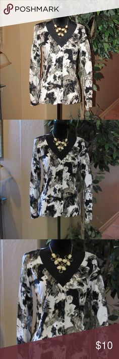 Black & White abstract print sweater Classy black, white and grey  v neck button down sweater.   100% Cotton.  Hand wash; lay flat to dry.  Worn 2 times- in very good condition. Tops
