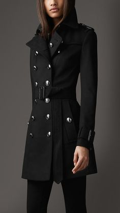 Burberry London Mid-Length Wool Cashmere Trench Coat