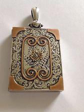 Beautiful Fine Antique Victorian Sterling Silver & Gold Rectangular Locket