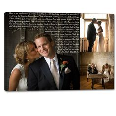 Storyboard Wedding Photo Collage with quotes, words  Personalized Canvas with Text Large Wall Art 24X36. $ 265.00, via Etsy.