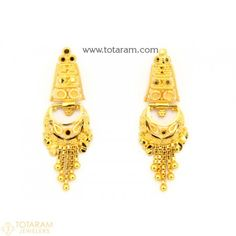 22K Gold Drop Earrings for Women - 235-GER9105 - Buy this Latest Indian Gold Jewelry Design in 5.000 Grams for a low price of $333.00 Gold Chandelier Earrings, Gold Drop Earrings, Gold Pendant, Pendant Jewelry, Gold Necklace, Indian Gold Jewellery Design, Gold Temple Jewellery, Jewellery Designs, Gold Jewelry