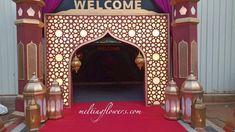 Contact us For Theme Wedding decorations Across South India. Wedding Reception Entrance, Wedding Stage Decorations, Wedding Props, Ramadan Decorations, Arabian Party, Arabian Nights Party, Ganpati Decoration At Home, Steel Gate Design, Islamic Decor