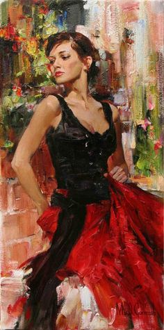 Spanish Garden - original painting - by Michael and Inessa Garmash