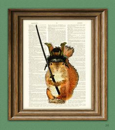 Squeaky the Samurai Squirrel with sword and armor illustration beautifully upcycled dictionary page book art print $6.99