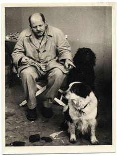 Jackson Pollock with his dogs Gyp and Ahab, ca. 1955. Photographer unknown.