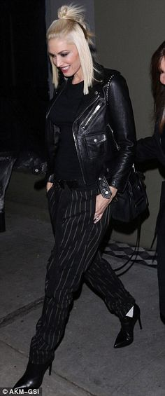 Gwen Stefani wows in pinstripes during dinner date with husband Gavin Rossdale | Daily Mail Online