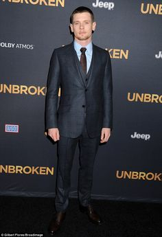 Englishman: Standing solo was Unbroken's leading man Jack O'Connell - who plays Zamperini ...