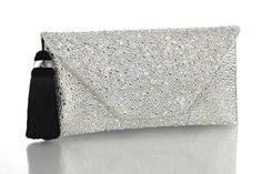 Couture Handbags Bags Medium Leather Interior Black Silver Diamonds Swarovski Crystals Envelope Arm