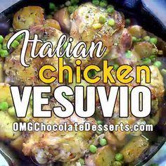 Chicken Vesuvio Recipe | One Pot Chicken Dinner Idea Easy Chicken Recipes, Easy Dinner Recipes, Healthy Dinner Recipes, Cooking Recipes, Recipe Chicken, Easy Chicken Vesuvio Recipe, Skillet Recipes, Chicken Meals, Steak Dinner Sides