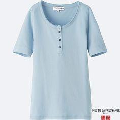 WOMEN IDLF HENLEY NECK SHORT-SLEEVE T-SHIRT, LIGHT BLUE $19.90