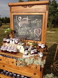 Photo 1 of Rustic Elegance / Wedding, how cute is this for a barn wedding? Wedding Favour Displays, Wedding Favours Sign, Wedding Favors For Guests, Party Favors, Wedding Gifts, Jam Favors, Wedding Ideas, Honey Favors, Wedding Quotes