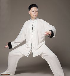 White Wudang Tai Chi Uniform with Wide Black Pattern Satin Cuffs and Thin Outline