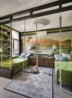Cool 37 Superb Contemporary Interior Design Ideas For Kids Room. (That one rope looks like an accident waiting to happen but what an otherwise cool room). Grand Gite, Cool Kids Bedrooms, Bedroom Kids, Kids Rooms, Cool Rooms For Kids, Cool Kids Beds, Kid Bedrooms, Baby Bedroom, Master Bedroom