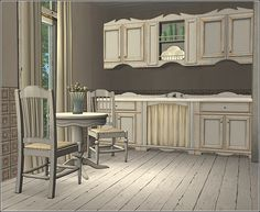 Seasons Country Furniture in White - Anna's Sims Buy Kitchen, Kitchen Dining, Book Texture, Youth Of Today, Pink Tiles, Inside Outside, Country Furniture, Sims 2, Maxis