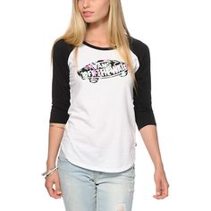 A Vans Off The Wall logo with tropical floral fill is printed on a soft and lightweight baseball tee cut with a flattering slim fit and contrast raglan sleeves.